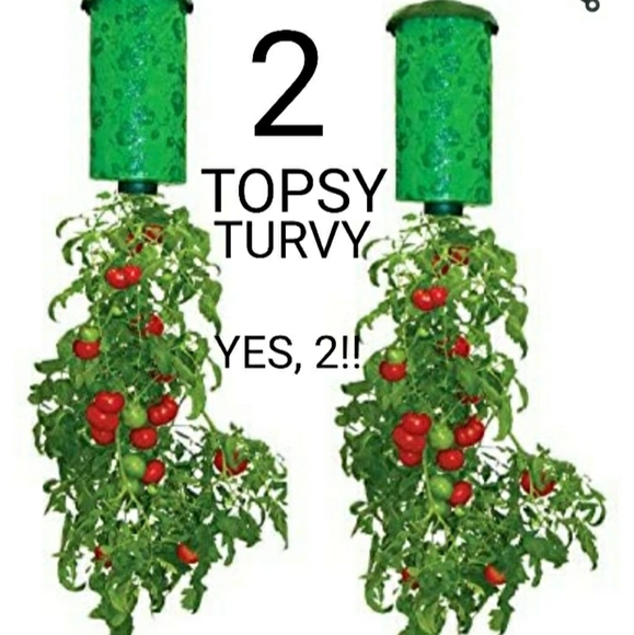 2 (TWO) 🍅*NWT* ~TOPSY TURVY~ UPSIDE DOWN PLANTERS